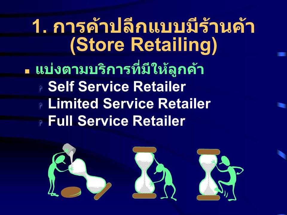 1. การค้าปลีกแบบมีร้านค้า (Store Retailing) แบ่งตามบริการที่มีให้ลูกค้า  Self Service Retailer  Limited Service Retailer  Full Service Retailer