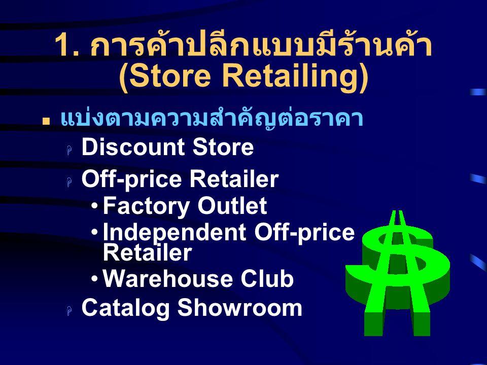 1. การค้าปลีกแบบมีร้านค้า (Store Retailing) แบ่งตามความสำคัญต่อราคา  Discount Store  Off-price Retailer Factory Outlet Independent Off-price Retaile