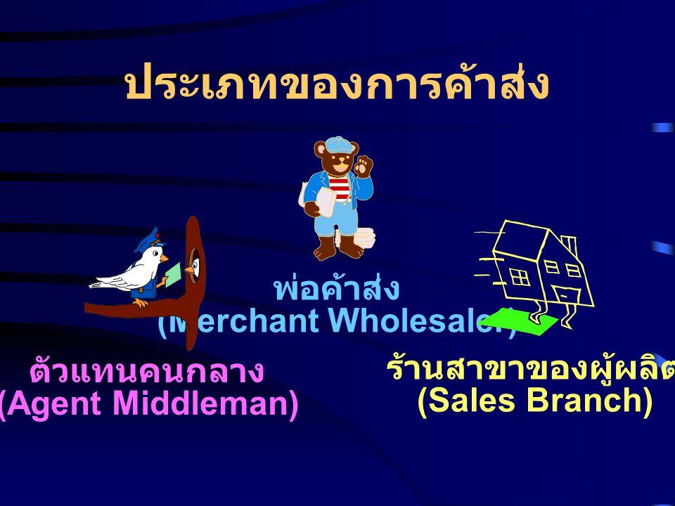 ประเภทของการค้าส่ง พ่อค้าส่ง (Merchant Wholesaler) ตัวแทนคนกลาง (Agent Middleman) ร้านสาขาของผู้ผลิต (Sales Branch)