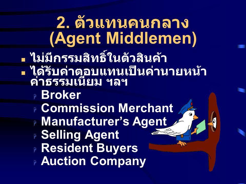 2. ตัวแทนคนกลาง (Agent Middlemen) ไม่มีกรรมสิทธิ์ในตัวสินค้า ได้รับค่าตอบแทนเป็นค่านายหน้า ค่าธรรมเนียม ฯลฯ  Broker  Commission Merchant  Manufactu