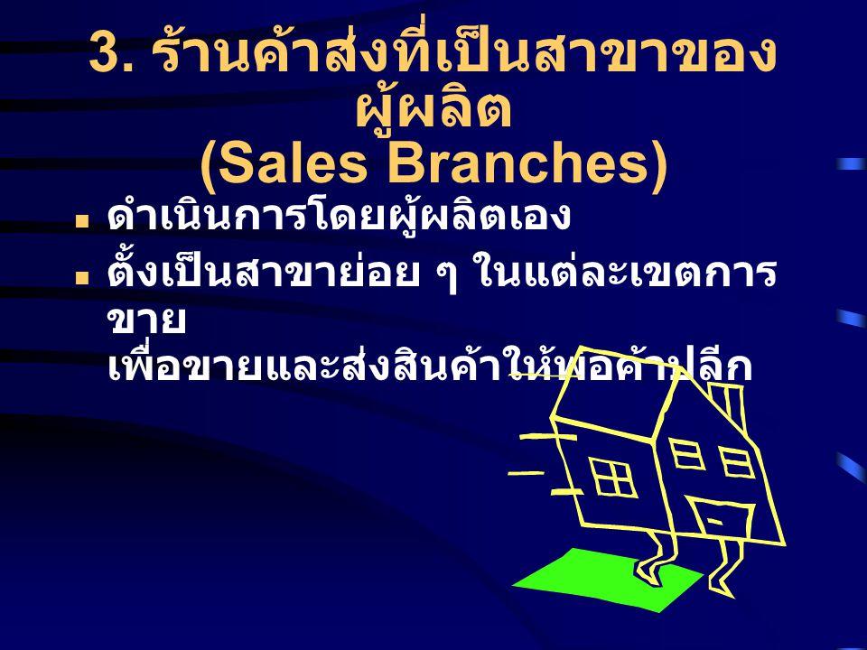 3. ร้านค้าส่งที่เป็นสาขาของ ผู้ผลิต (Sales Branches) ดำเนินการโดยผู้ผลิตเอง ตั้งเป็นสาขาย่อย ๆ ในแต่ละเขตการ ขาย เพื่อขายและส่งสินค้าให้พ่อค้าปลีก