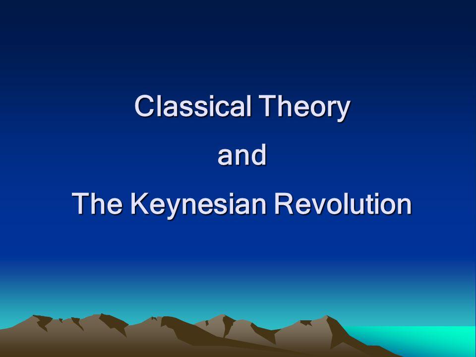 Classical Theory Classical Economist : Adam Smith –มีการจ้างงานเต็มที่ในระยะยาว –Say's Law Supply creates its own Demand