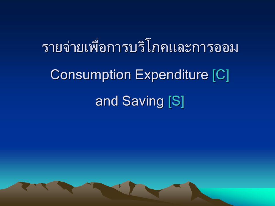 ปัจจัยที่มีผลต่อค่าใช้จ่ายเพื่อการบริโภคและการออม 1.รายได้สุทธิส่วนบุคคลหรือรายได้ที่ใช้จ่ายได้จริง (Disposable Income) รายได้CS CS