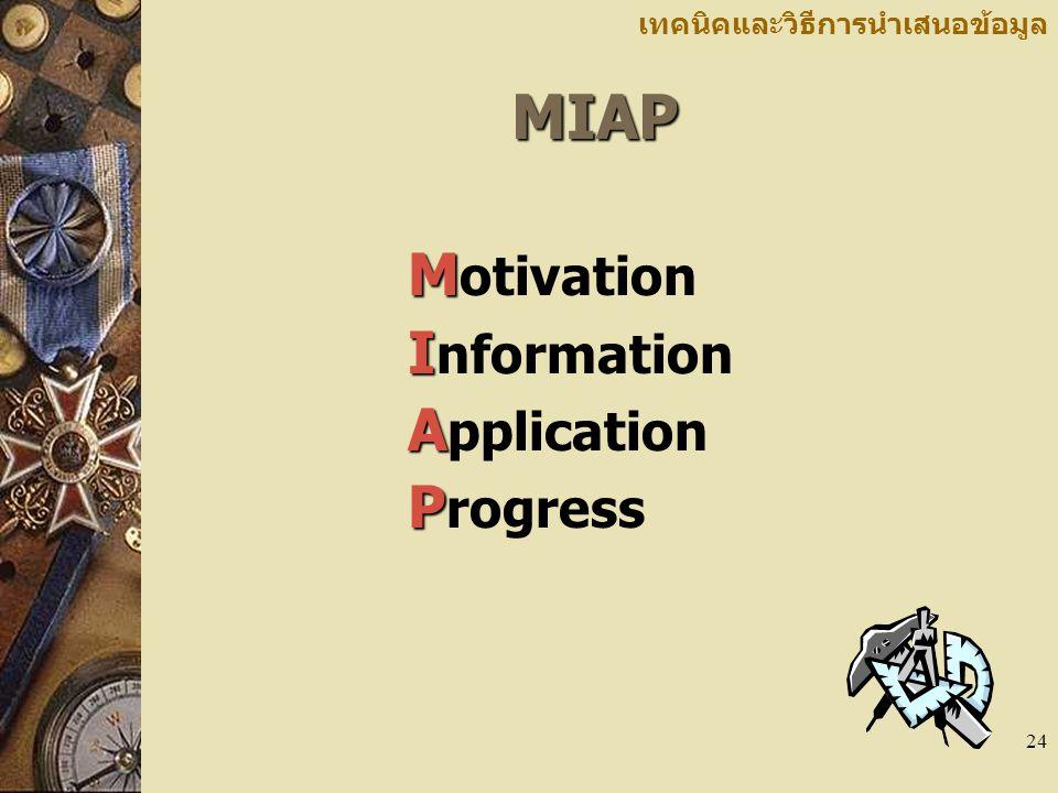 24 เทคนิคและวิธีการนำเสนอข้อมูลMIAP M M otivation I I nformation A A pplication P P rogress