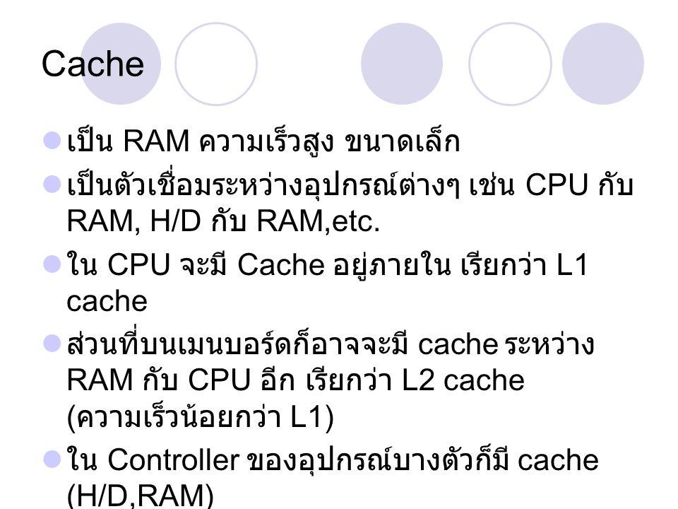 Cache เป็น RAM ความเร็วสูง ขนาดเล็ก เป็นตัวเชื่อมระหว่างอุปกรณ์ต่างๆ เช่น CPU กับ RAM, H/D กับ RAM,etc. ใน CPU จะมี Cache อยู่ภายใน เรียกว่า L1 cache