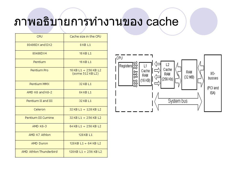 ภาพอธิบายการทำงานของ cache CPUCache size in the CPU 80486DX and DX28 KB L1 80486DX416 KB L1 Pentium16 KB L1 Pentium Pro16 KB L1 + 256 KB L2 (some 512