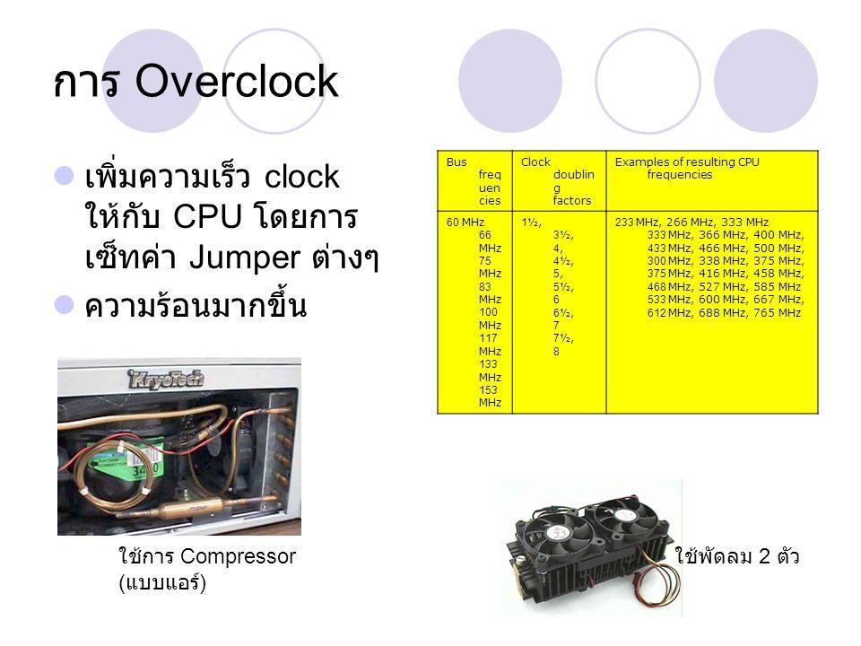 การ Overclock เพิ่มความเร็ว clock ให้กับ CPU โดยการ เซ็ทค่า Jumper ต่างๆ ความร้อนมากขึ้น Bus freq uen cies Clock doublin g factors Examples of resulti