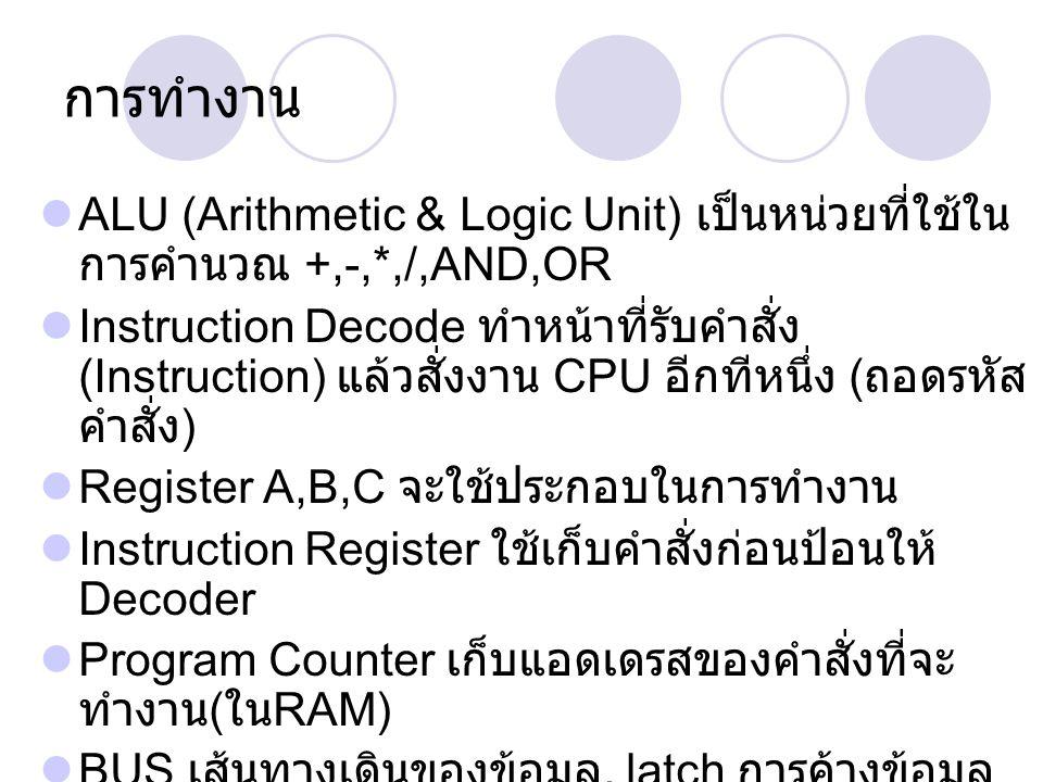 BUS Address Bus เป็นเส้นทางของการส่งแอดเดรส ใช้เพื่อการอ่าน / เขียนข้อมูลกับ RAM มีขนาด 8,16,32 บิท ( ขึ้นอยู่กับ CPU) Data Bus เป็นเส้นทางของการส่งข้อมูล ( อ่าน / เขียน ) ระหว่าง RAM กับ CPU (registers) RD,WR เป็นสัญญาณบอกกับ RAM ว่าจะอ่าน หรือเขียนข้อมูลกับ RAM Clock เป็นสัญญาณกำหนดจังหวะการทำงาน ของ CPU Reset เป็นสัญญาณ set ค่าใน Program Counter ให้เป็น