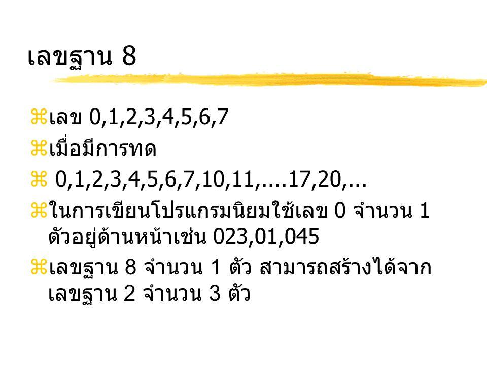 เลขฐาน 8  เลข 0,1,2,3,4,5,6,7  เมื่อมีการทด  0,1,2,3,4,5,6,7,10,11,....17,20,...  ในการเขียนโปรแกรมนิยมใช้เลข 0 จำนวน 1 ตัวอยู่ด้านหน้าเช่น 023,01