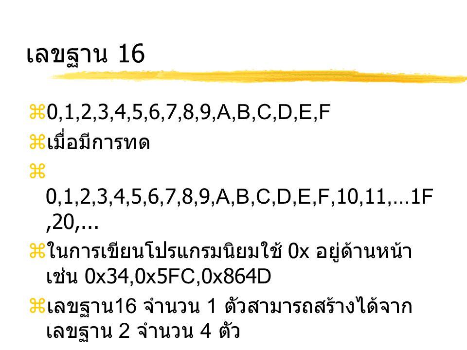 เลขฐาน 16  0,1,2,3,4,5,6,7,8,9,A,B,C,D,E,F  เมื่อมีการทด  0,1,2,3,4,5,6,7,8,9,A,B,C,D,E,F,10,11,...1F,20,...  ในการเขียนโปรแกรมนิยมใช้ 0x อยู่ด้าน