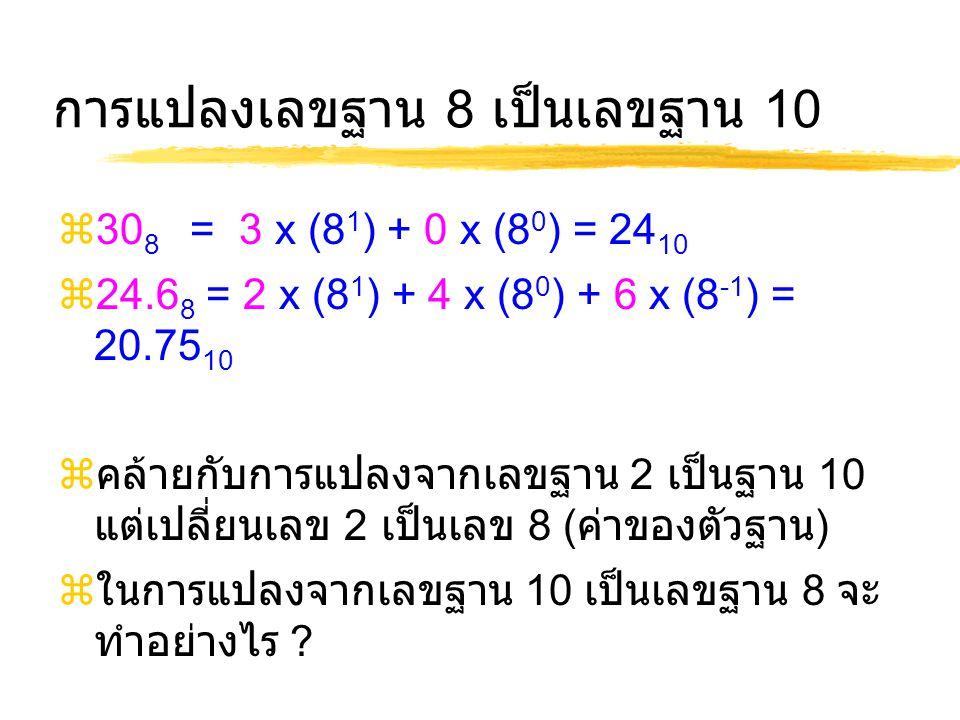 การแปลงเลขฐาน 8 เป็นเลขฐาน 10  30 8 = 3 x (8 1 ) + 0 x (8 0 ) = 24 10  24.6 8 = 2 x (8 1 ) + 4 x (8 0 ) + 6 x (8 -1 ) = 20.75 10  คล้ายกับการแปลงจากเลขฐาน 2 เป็นฐาน 10 แต่เปลี่ยนเลข 2 เป็นเลข 8 ( ค่าของตัวฐาน )  ในการแปลงจากเลขฐาน 10 เป็นเลขฐาน 8 จะ ทำอย่างไร ?