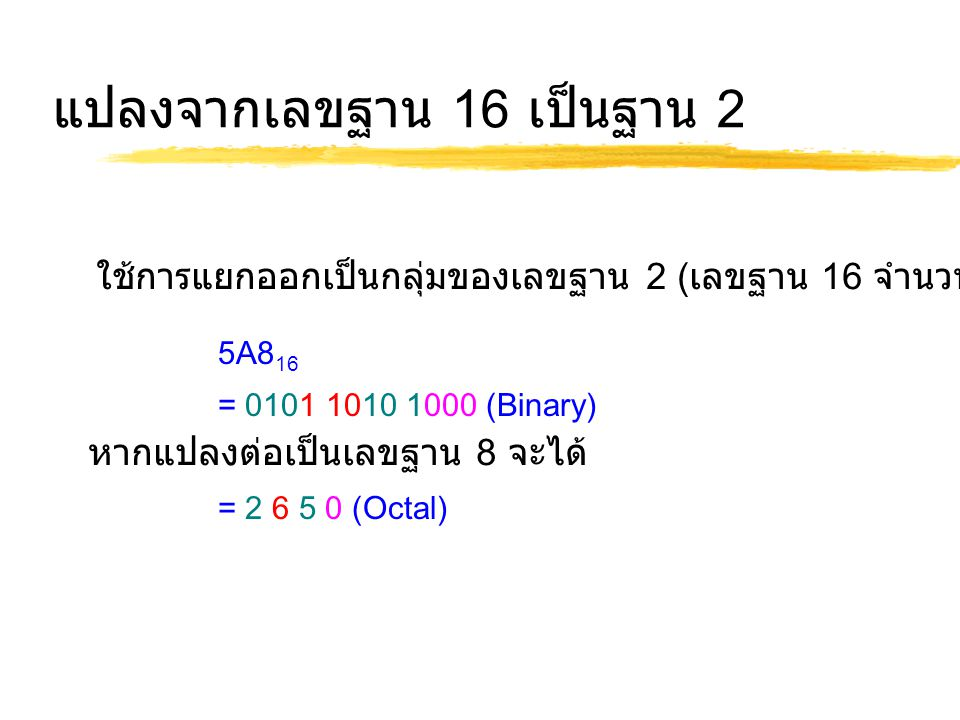 การแปลงเลขฐาน 16 เป็นฐาน 10 2AF 16 = 2 x (16 2 ) + 10 x (16 1 ) + 15 x (16 0 ) = 687 10 ใช้การหาร 16 ตลอด 378/16 = 23+ remainder of 10 A (Least Significant Bit) 23/ 16 = 1 + remainder of 7 7 1 / 16 = 0 + remainder of 1 1 (Most Significant Bit) Result 378 10 = 17A 16 แยกตัวประกอบ