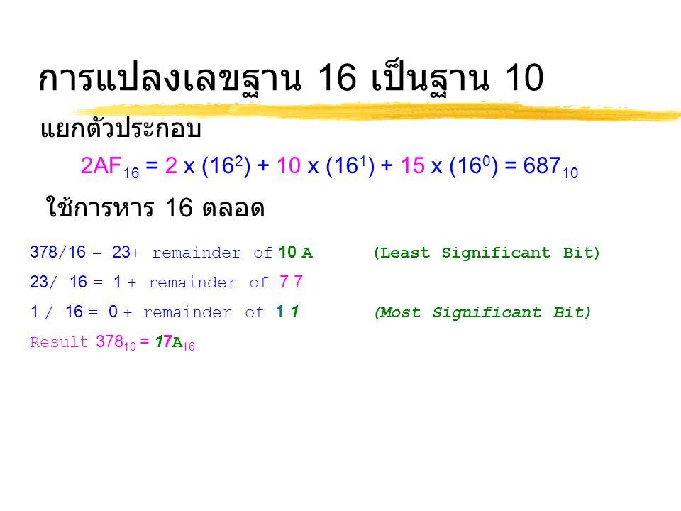 การแปลงเลขฐาน 16 เป็นฐาน 10 2AF 16 = 2 x (16 2 ) + 10 x (16 1 ) + 15 x (16 0 ) = 687 10 ใช้การหาร 16 ตลอด 378/16 = 23+ remainder of 10 A (Least Signif