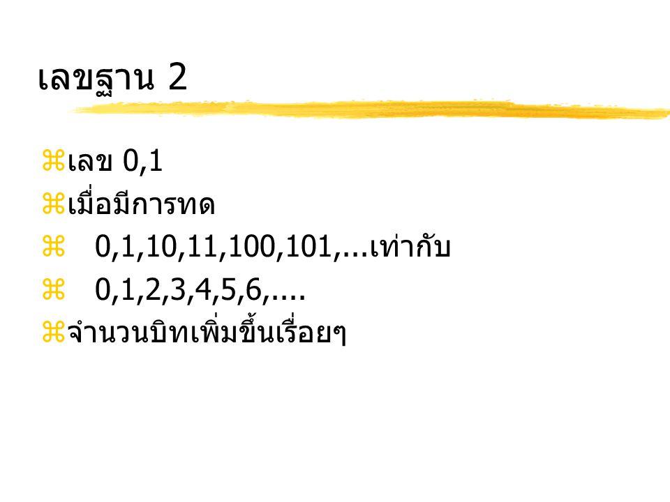 เลขฐาน 2  เลข 0,1  เมื่อมีการทด  0,1,10,11,100,101,... เท่ากับ  0,1,2,3,4,5,6,....  จำนวนบิทเพิ่มขึ้นเรื่อยๆ