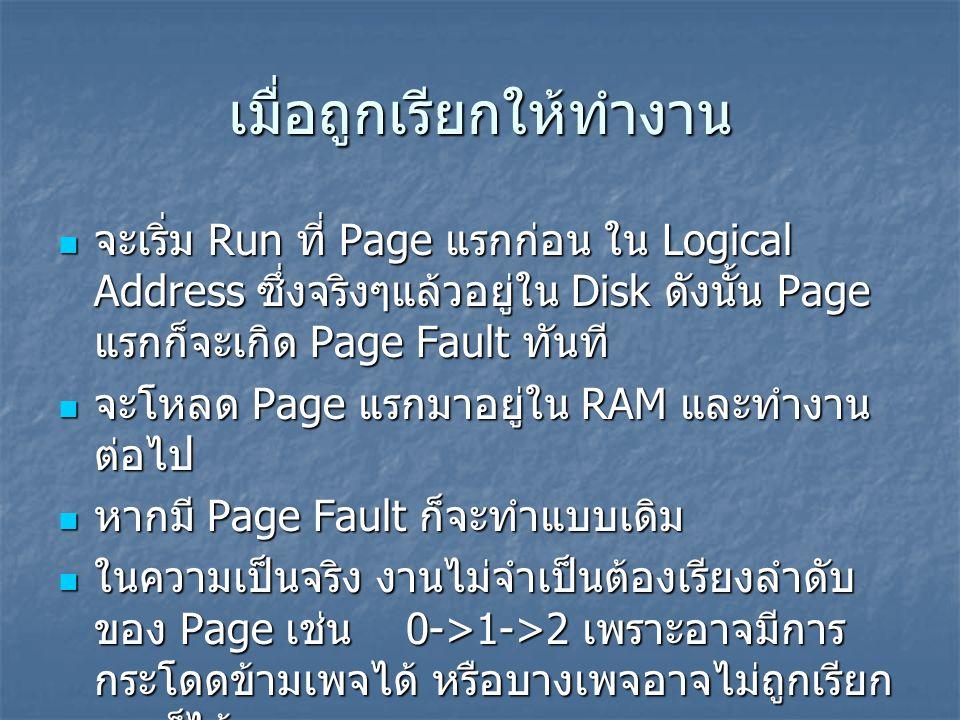 เมื่อถูกเรียกให้ทำงาน จะเริ่ม Run ที่ Page แรกก่อน ใน Logical Address ซึ่งจริงๆแล้วอยู่ใน Disk ดังนั้น Page แรกก็จะเกิด Page Fault ทันที จะเริ่ม Run ท