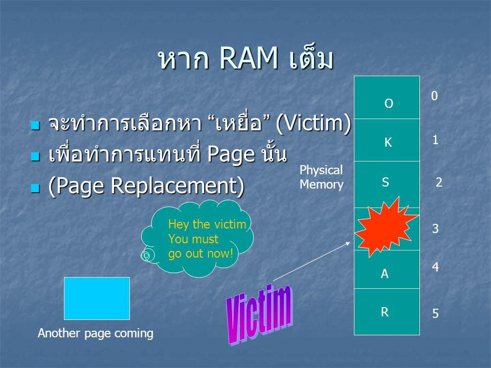 """หาก RAM เต็ม จะทำการเลือกหา """" เหยื่อ """" (Victim) จะทำการเลือกหา """" เหยื่อ """" (Victim) เพื่อทำการแทนที่ Page นั้น เพื่อทำการแทนที่ Page นั้น (Page Replace"""