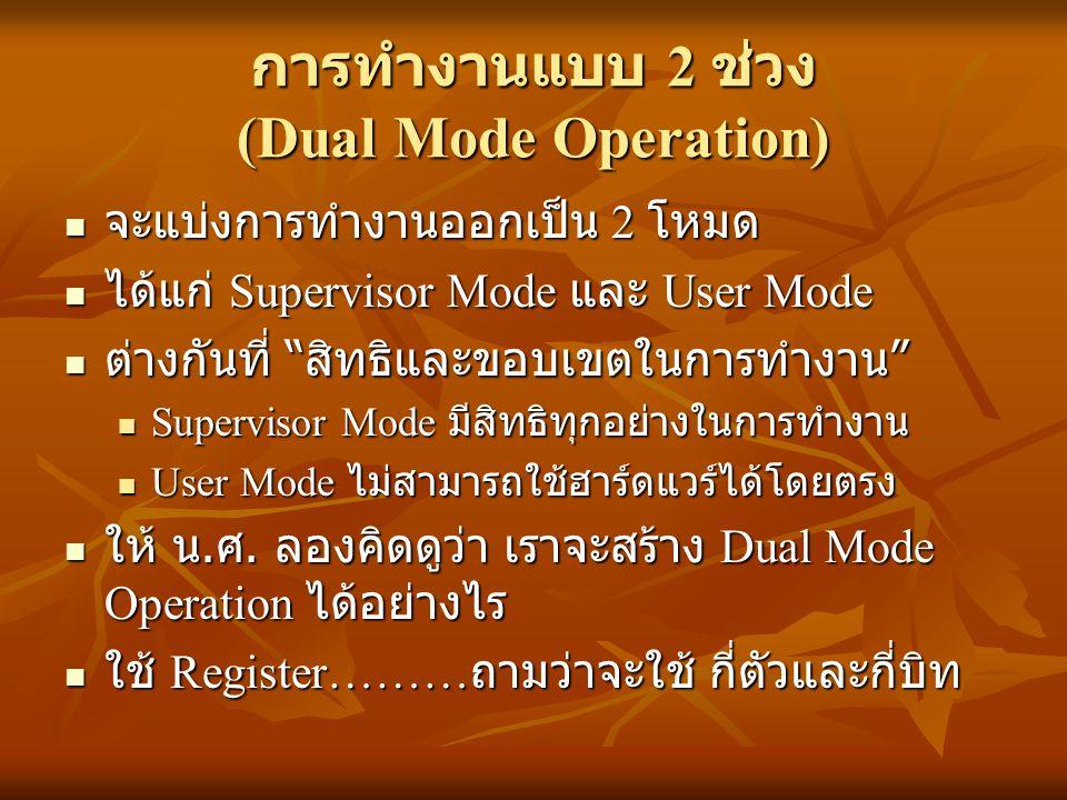 การทำงานแบบ 2 ช่วง (Dual Mode Operation) จะแบ่งการทำงานออกเป็น 2 โหมด จะแบ่งการทำงานออกเป็น 2 โหมด ได้แก่ Supervisor Mode และ User Mode ได้แก่ Supervi