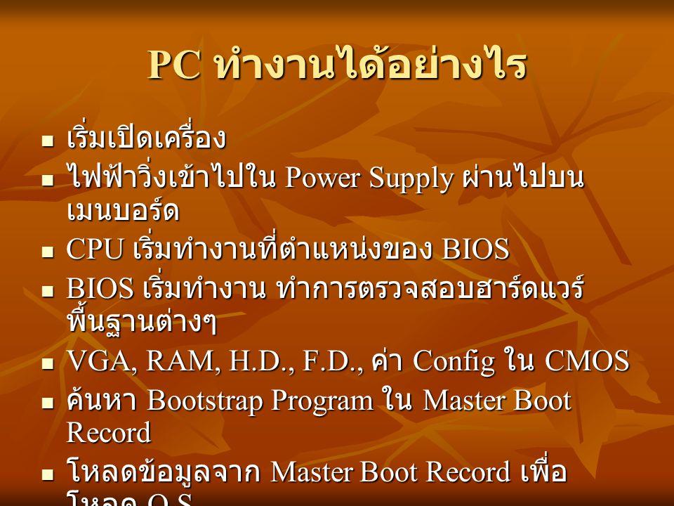 PC ทำงานได้อย่างไร เริ่มเปิดเครื่อง เริ่มเปิดเครื่อง ไฟฟ้าวิ่งเข้าไปใน Power Supply ผ่านไปบน เมนบอร์ด ไฟฟ้าวิ่งเข้าไปใน Power Supply ผ่านไปบน เมนบอร์ด