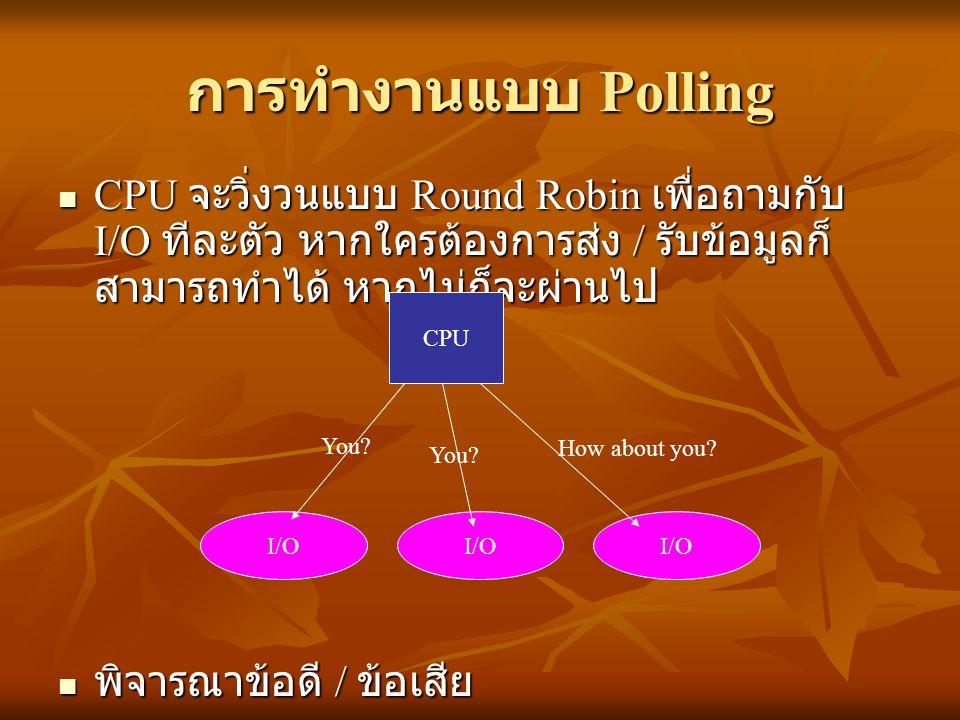 การทำงานแบบ Polling CPU จะวิ่งวนแบบ Round Robin เพื่อถามกับ I/O ทีละตัว หากใครต้องการส่ง / รับข้อมูลก็ สามารถทำได้ หากไม่ก็จะผ่านไป CPU จะวิ่งวนแบบ Ro