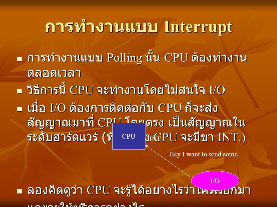 การทำงานแบบ Interrupt การทำงานแบบ Polling นั้น CPU ต้องทำงาน ตลอดเวลา การทำงานแบบ Polling นั้น CPU ต้องทำงาน ตลอดเวลา วิธีการนี้ CPU จะทำงานโดยไม่สนใจ