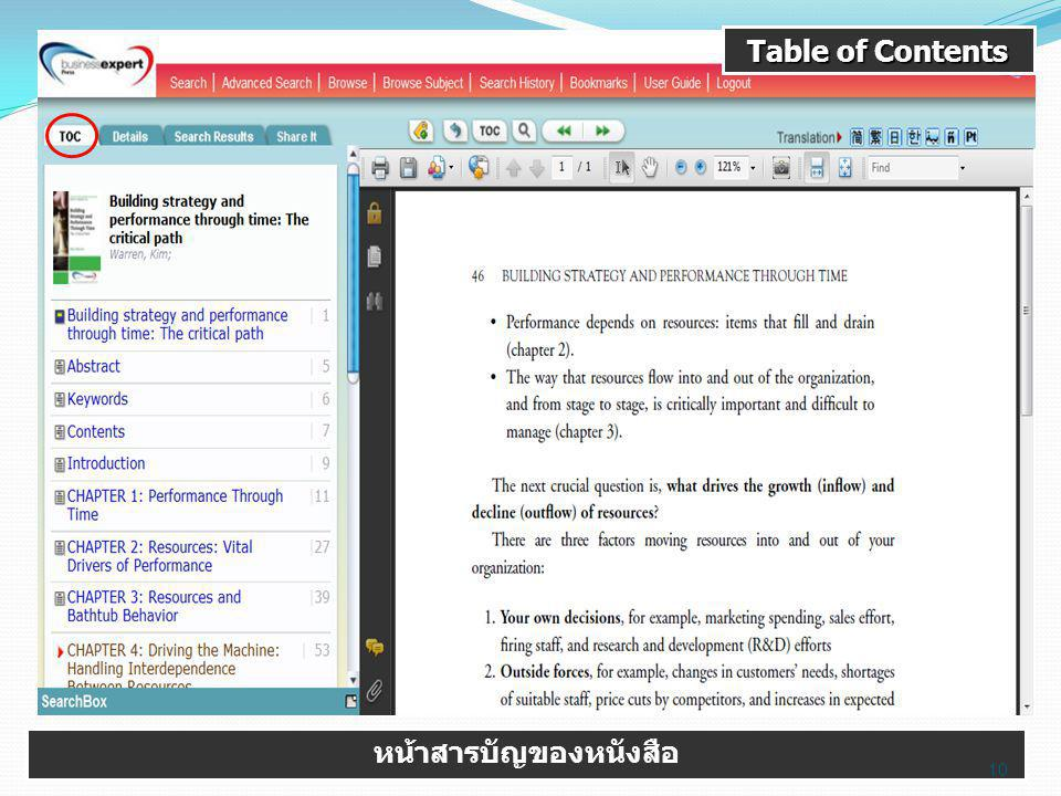Table of Contents หน้าสารบัญของหนังสือ 10