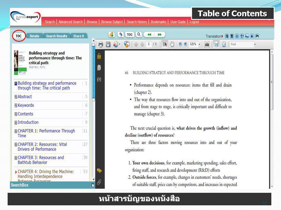 Table of Contents หน้าสารบัญของหนังสือ 10