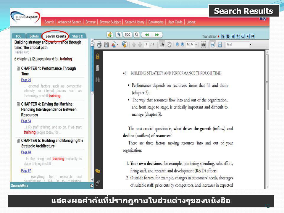 Search Results แสดงผลคำค้นที่ปรากฎภายในส่วนต่างๆของหนังสือ 12
