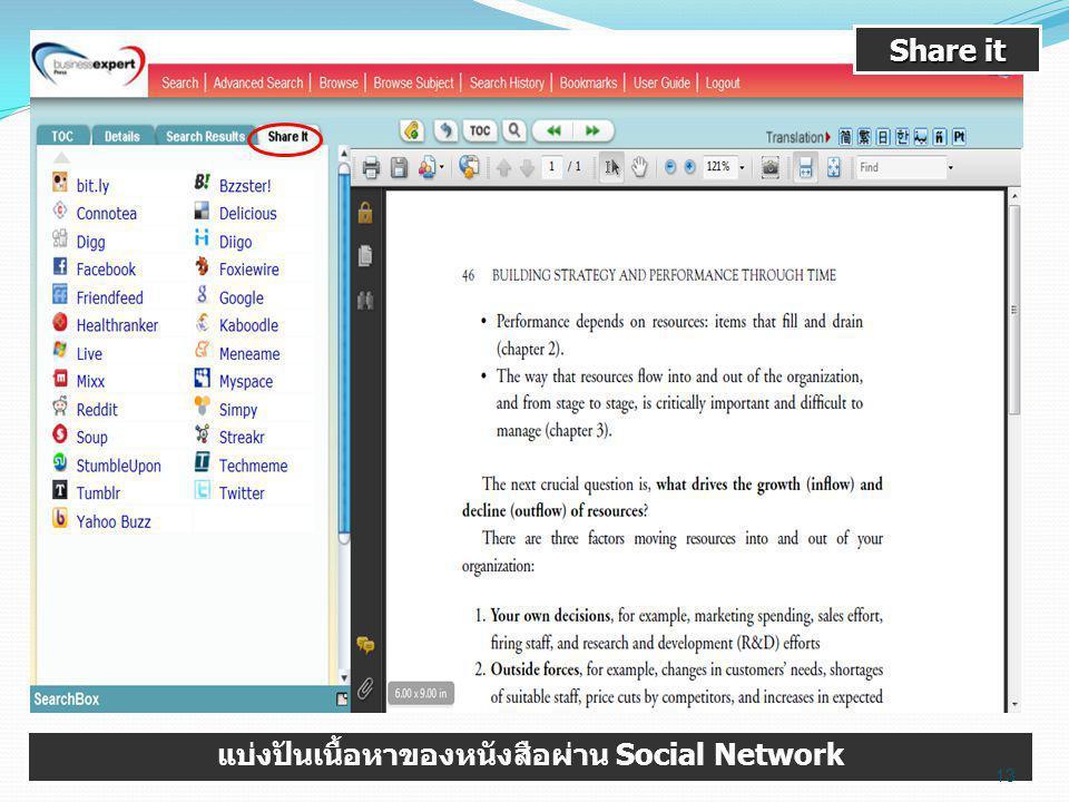 Share it แบ่งปันเนื้อหาของหนังสือผ่าน Social Network 13
