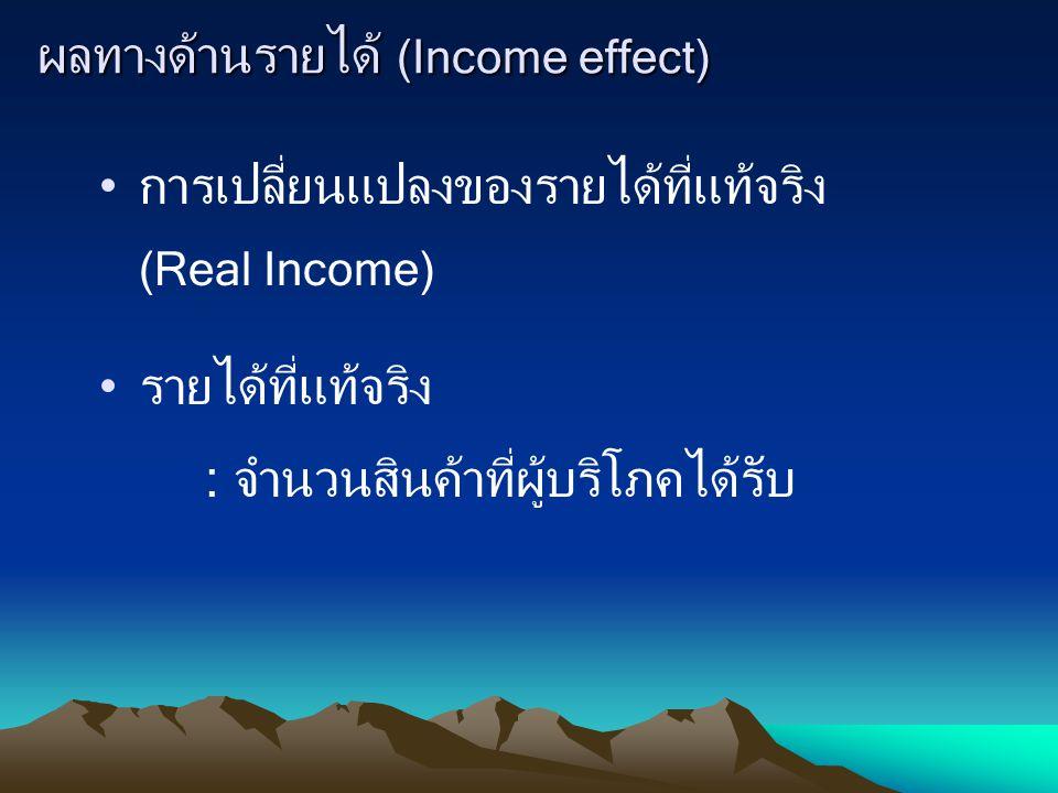 ผลทางด้านรายได้ (Income effect) การเปลี่ยนแปลงของรายได้ที่แท้จริง (Real Income) รายได้ที่แท้จริง : จำนวนสินค้าที่ผู้บริโภคได้รับ