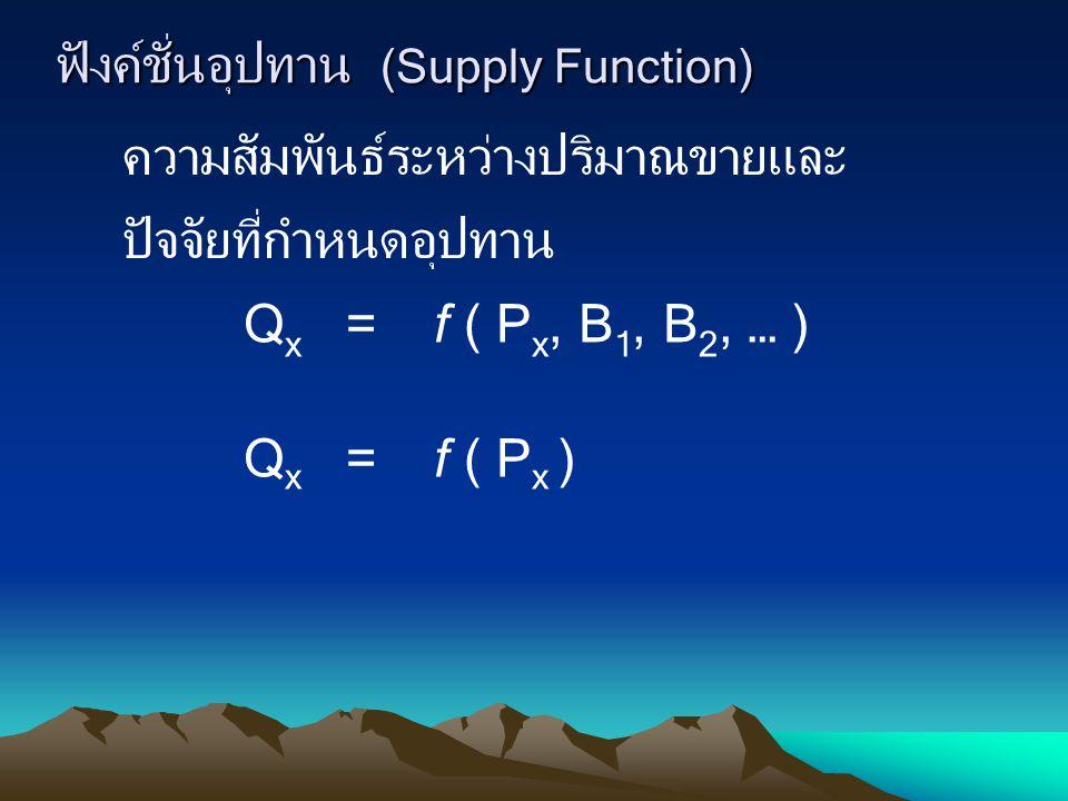 ฟังค์ชั่นอุปทาน (Supply Function) Q x = f ( P x, B 1, B 2, … ) Q x = f ( P x ) ความสัมพันธ์ระหว่างปริมาณขายและ ปัจจัยที่กำหนดอุปทาน