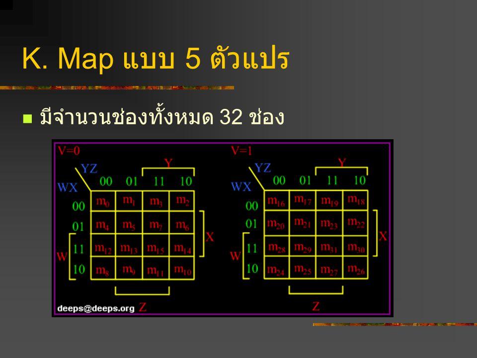 K. Map แบบ 5 ตัวแปร มีจำนวนช่องทั้งหมด 32 ช่อง