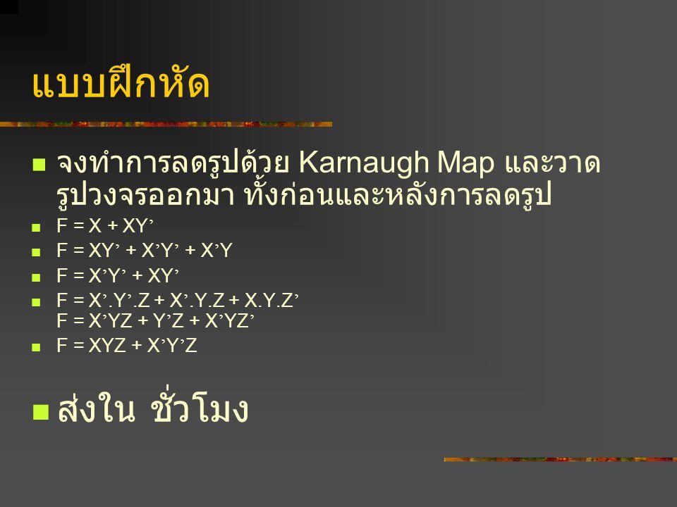 แบบฝึกหัด จงทำการลดรูปด้วย Karnaugh Map และวาด รูปวงจรออกมา ทั้งก่อนและหลังการลดรูป F = X + XY ' F = XY ' + X ' Y ' + X ' Y F = X ' Y ' + XY ' F = X '