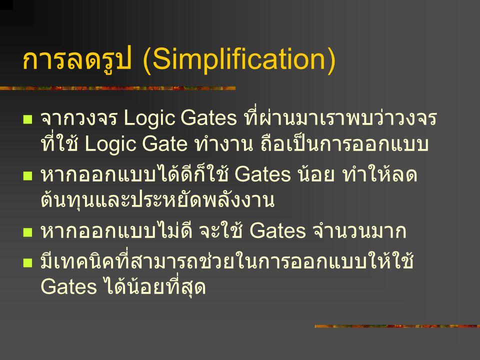 การลดรูป (Simplification) จากวงจร Logic Gates ที่ผ่านมาเราพบว่าวงจร ที่ใช้ Logic Gate ทำงาน ถือเป็นการออกแบบ หากออกแบบได้ดีก็ใช้ Gates น้อย ทำให้ลด ต้