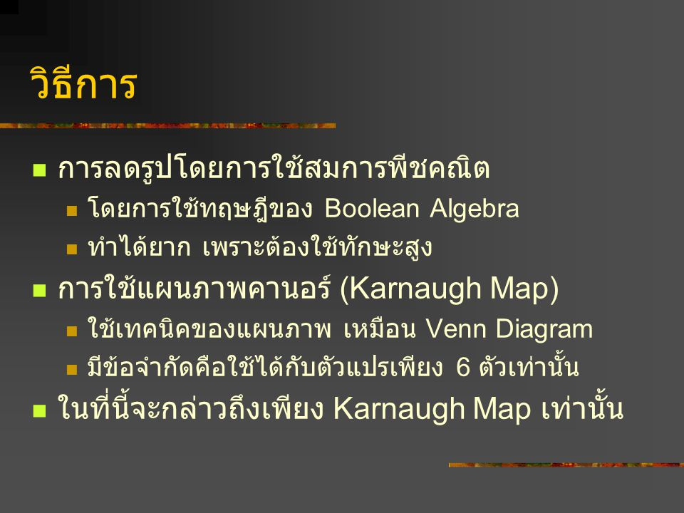 K. Map แบบ 4 ตัวแปร จะมีทั้งหมด 16 ช่อง