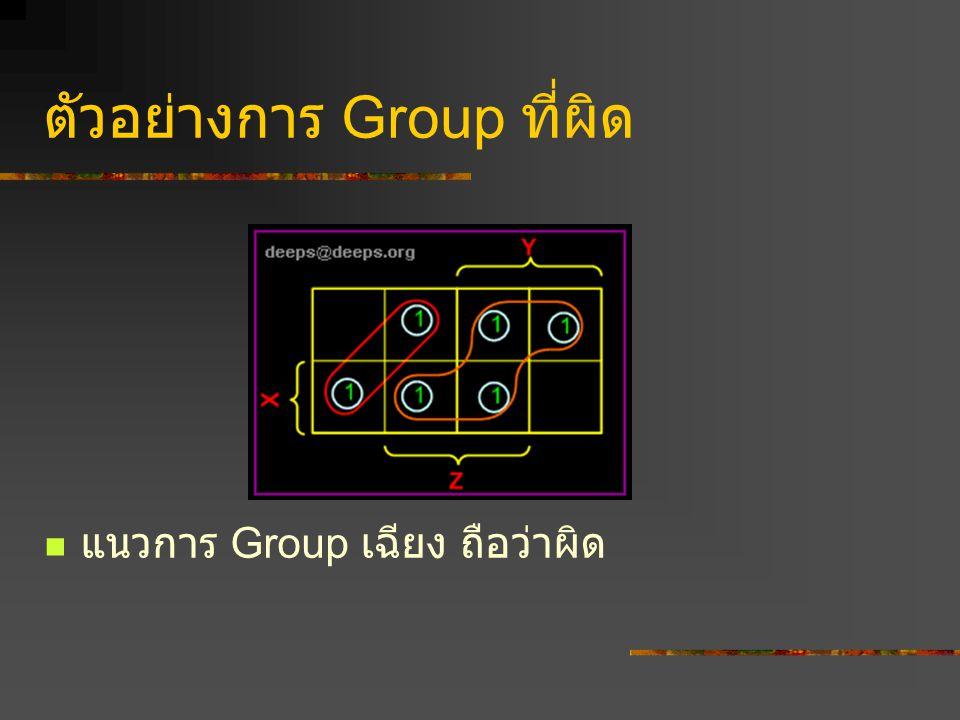 ตัวอย่าง F=X Y+XY วาดตาราง ใส่ค่าลงไป แล้วทำการ Grouping จะเห็นว่า X ไม่มีค่า มีแต่ Y เท่านั้น ดังนั้นจะได้ F = Y