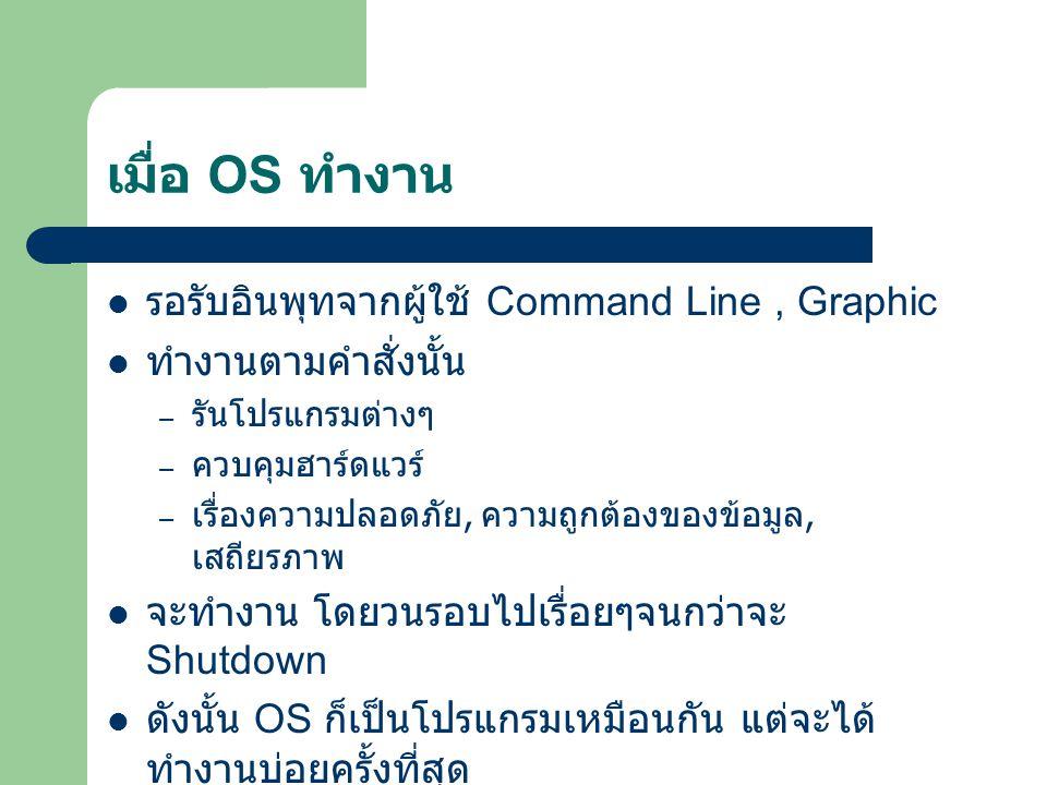 เมื่อ OS ทำงาน รอรับอินพุทจากผู้ใช้ Command Line, Graphic ทำงานตามคำสั่งนั้น – รันโปรแกรมต่างๆ – ควบคุมฮาร์ดแวร์ – เรื่องความปลอดภัย, ความถูกต้องของข้อมูล, เสถียรภาพ จะทำงาน โดยวนรอบไปเรื่อยๆจนกว่าจะ Shutdown ดังนั้น OS ก็เป็นโปรแกรมเหมือนกัน แต่จะได้ ทำงานบ่อยครั้งที่สุด