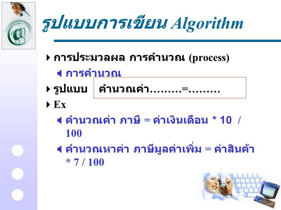 รูปแบบการเขียน Algorithm  การประมวลผล การคำนวณ (process)  การคำนวณ  รูปแบบคำนวณค่า ………=………  Ex  คำนวณค่า ภาษี = ค่าเงินเดือน * 10 / 100  คำนวณหา
