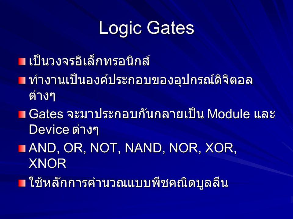 Logic Gates เป็นวงจรอิเล็กทรอนิกส์ ทำงานเป็นองค์ประกอบของอุปกรณ์ดิจิตอล ต่างๆ Gates จะมาประกอบกันกลายเป็น Module และ Device ต่างๆ AND, OR, NOT, NAND,