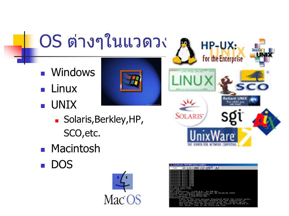 OS ต่างๆในแวดวง Windows Linux UNIX Solaris,Berkley,HP, SCO,etc. Macintosh DOS