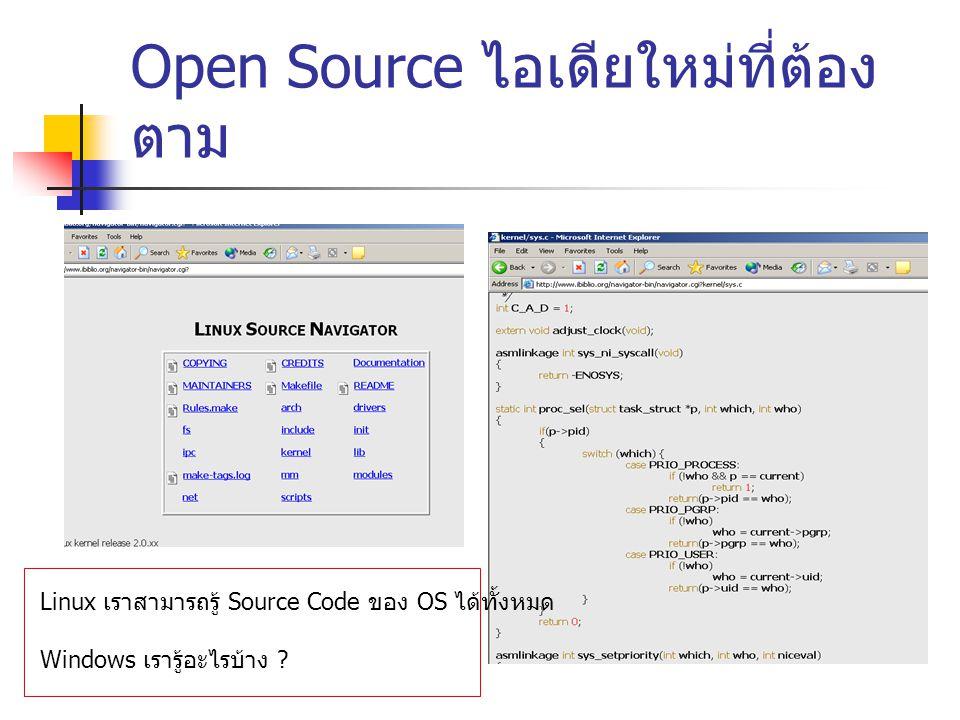 Open Source ไอเดียใหม่ที่ต้อง ตาม Linux เราสามารถรู้ Source Code ของ OS ได้ทั้งหมด Windows เรารู้อะไรบ้าง ?