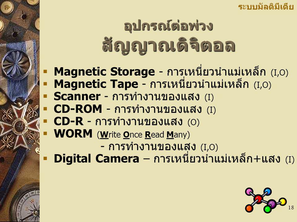 18 อุปกรณ์ต่อพ่วง สัญญาณดิจิตอล ระบบมัลติมีเดีย  Magnetic Storage - การเหนี่ยวนำแม่เหล็ก (I,O)  Magnetic Tape - การเหนี่ยวนำแม่เหล็ก (I,O)  Scanner - การทำงานของแสง (I)  CD-ROM - การทำงานของแสง (I)  CD-R - การทำงานของแสง (O)  WORM (Write Once Read Many) - การทำงานของแสง (I,O)  Digital Camera – การเหนี่ยวนำแม่เหล็ก+แสง (I)