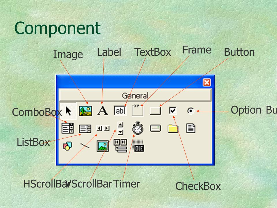 Component Image Label TextBox Frame Button CheckBox Option Button ComboBox ListBox HScrollBar VScrollBar Timer