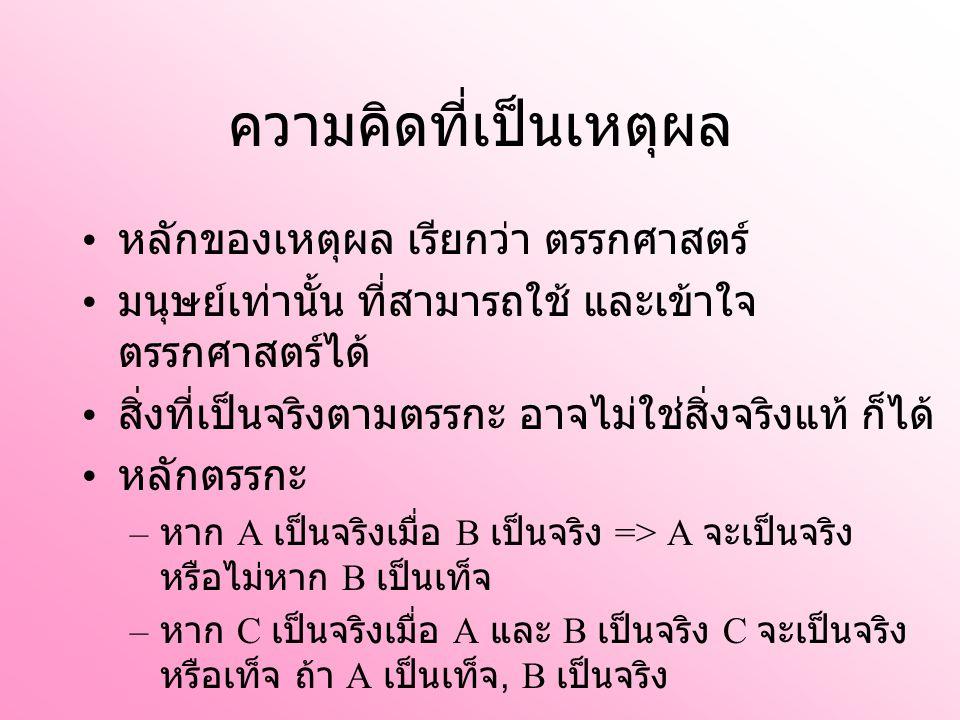 ความคิดที่เป็นเหตุผล หลักของเหตุผล เรียกว่า ตรรกศาสตร์ มนุษย์เท่านั้น ที่สามารถใช้ และเข้าใจ ตรรกศาสตร์ได้ สิ่งที่เป็นจริงตามตรรกะ อาจไม่ใช่สิ่งจริงแท้ ก็ได้ หลักตรรกะ – หาก A เป็นจริงเมื่อ B เป็นจริง => A จะเป็นจริง หรือไม่หาก B เป็นเท็จ – หาก C เป็นจริงเมื่อ A และ B เป็นจริง C จะเป็นจริง หรือเท็จ ถ้า A เป็นเท็จ, B เป็นจริง