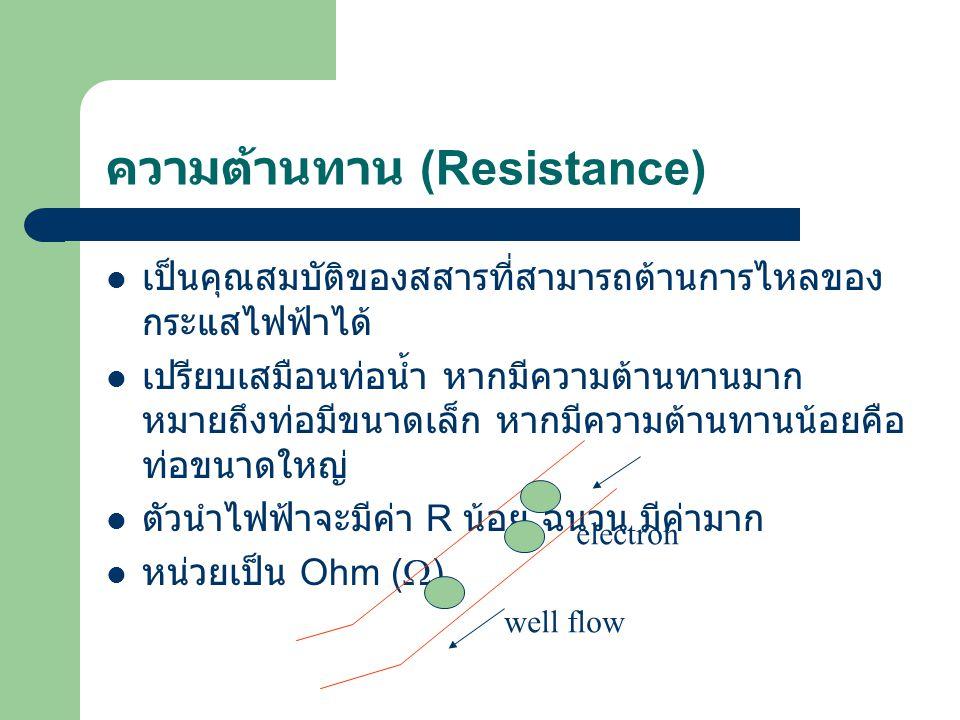 ความต้านทาน (Resistance) เป็นคุณสมบัติของสสารที่สามารถต้านการไหลของ กระแสไฟฟ้าได้ เปรียบเสมือนท่อน้ำ หากมีความต้านทานมาก หมายถึงท่อมีขนาดเล็ก หากมีควา