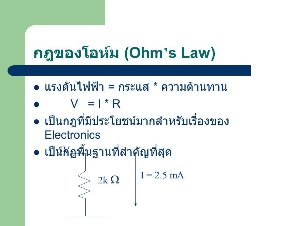 กฎของโอห์ม (Ohm ' s Law) แรงดันไฟฟ้า = กระแส * ความต้านทาน V = I * R เป็นกฎที่มีประโยชน์มากสำหรับเรื่องของ Electronics เป็นกฏพื้นฐานที่สำคัญที่สุด 5V