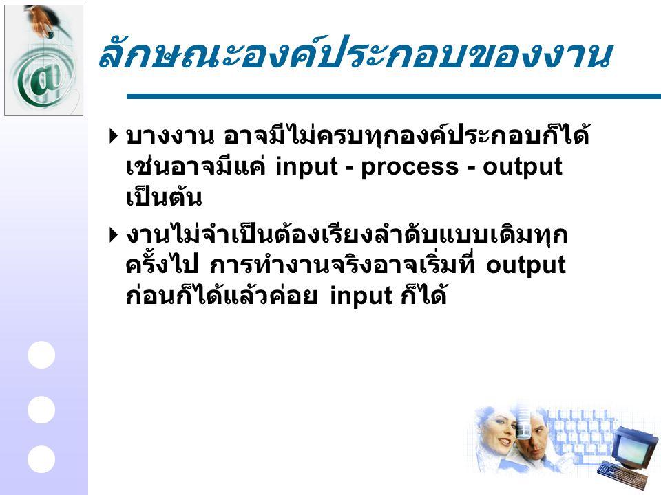 ลักษณะองค์ประกอบของงาน  บางงาน อาจมีไม่ครบทุกองค์ประกอบก็ได้ เช่นอาจมีแค่ input - process - output เป็นต้น  งานไม่จำเป็นต้องเรียงลำดับแบบเดิมทุก ครั