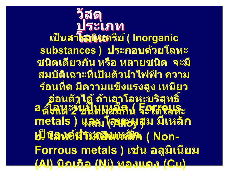 วัสดุ ประเภท โลหะ เป็นสารอนินทรีย์ ( Inorganic substances ) ประกอบด้วยโลหะ ชนิดเดียวกัน หรือ หลายชนิด จะมี สมบัติเฉาะที่เป็นตัวนำไฟฟ้า ความ ร้อนที่ด ม