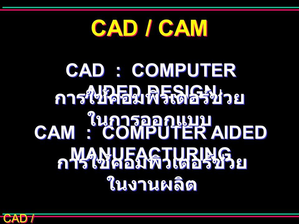 CAD / CAM CAD ช่วยในการดัดแปลง วิเคราะห์ และหาหนทางที่ดีที่สุดในการ ออกแบบ ช่วยในการดัดแปลง วิเคราะห์ และหาหนทางที่ดีที่สุดในการ ออกแบบ การใช้คอมพิวเตอร์ช่วย ในการออกแบบ