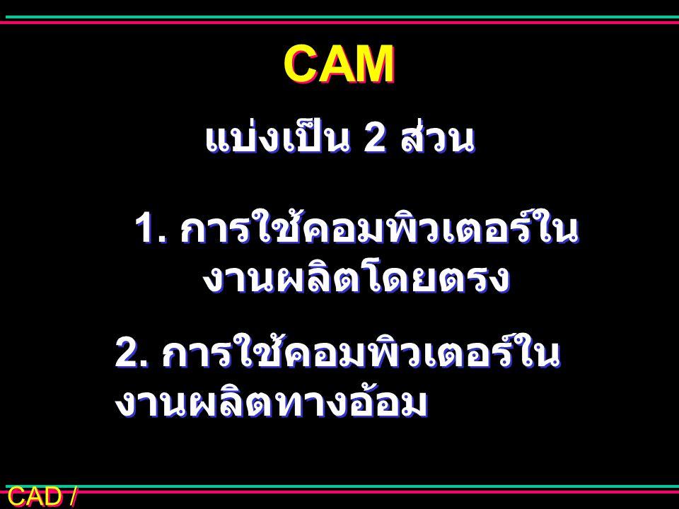 CAD / CAM CAM แบ่งเป็น 2 ส่วน 1. การใช้คอมพิวเตอร์ใน งานผลิตโดยตรง 2. การใช้คอมพิวเตอร์ใน งานผลิตทางอ้อม 1. การใช้คอมพิวเตอร์ใน งานผลิตโดยตรง 2. การใช