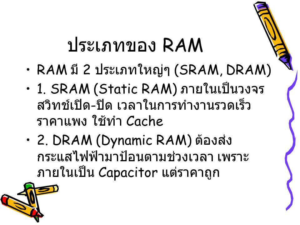 ประเภทของ RAM RAM มี 2 ประเภทใหญ่ๆ (SRAM, DRAM) 1. SRAM (Static RAM) ภายในเป็นวงจร สวิทช์เปิด - ปิด เวลาในการทำงานรวดเร็ว ราคาแพง ใช้ทำ Cache 2. DRAM